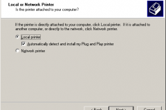 Windows 2000 - Add Printer Wizard - Local or Network Printer