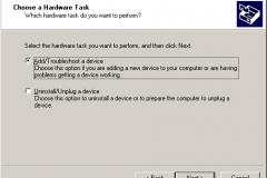 Windows 2000 - Add Remove Hardware Wizard - Choose a Hardware Task