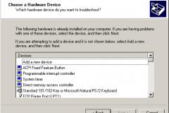 Windows 2000 - AddRemove Hardware Wizard - Choose a Hardware Device