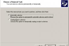 Windows 2000 - AddRemove Hardware Wizard - Choose a Removal Task