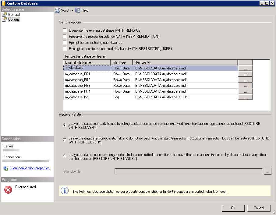 Restore Database msSQL