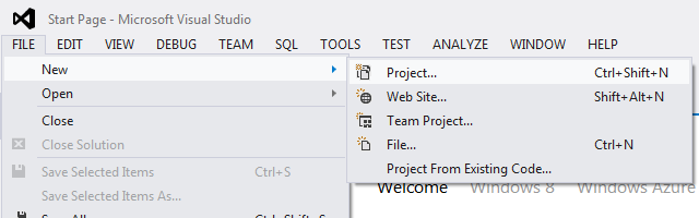 New Project - Visual Studio