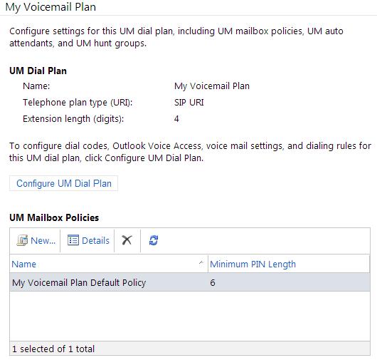 UM Dial Plan Configuration