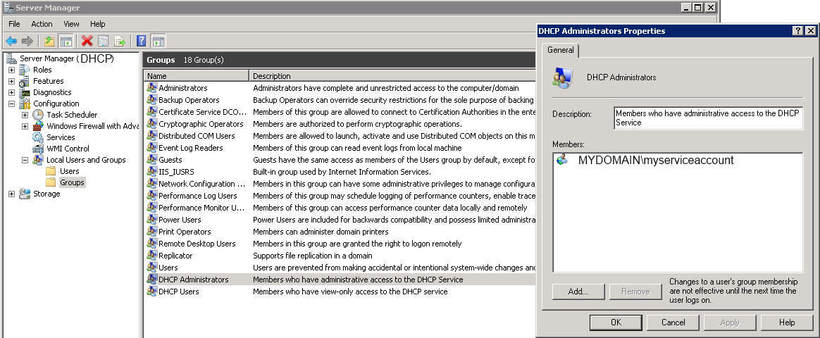 DHCP Administrators group