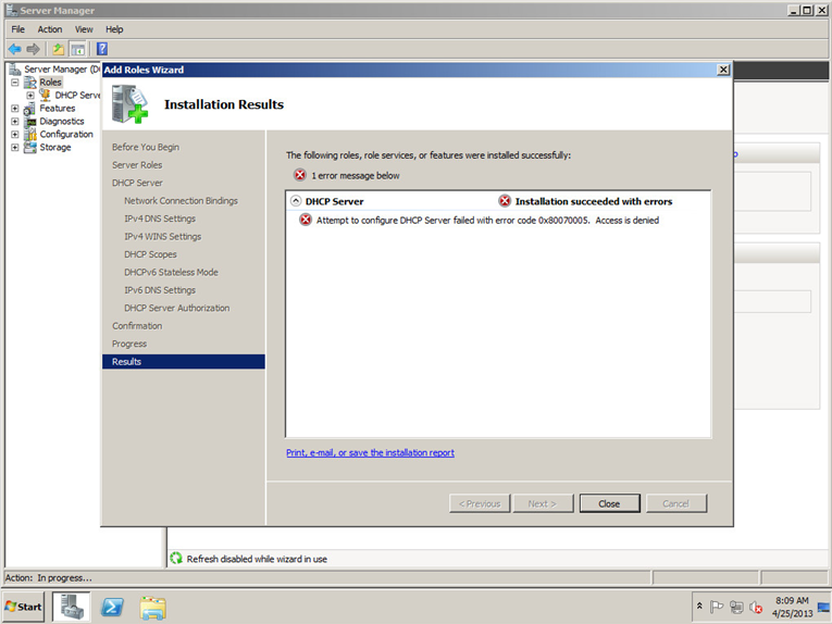 DHCP Error 0x8007005