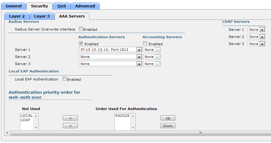 802.1X - Cisco WLAN - AAA Servers