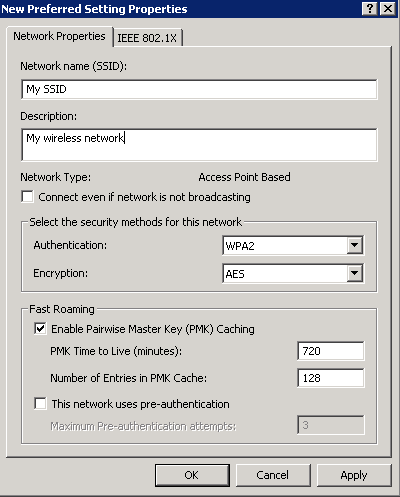 802.1X - XP Network Properties