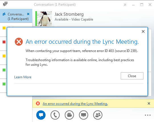 Lync Meeting Error ID 403 (Source ID 239)