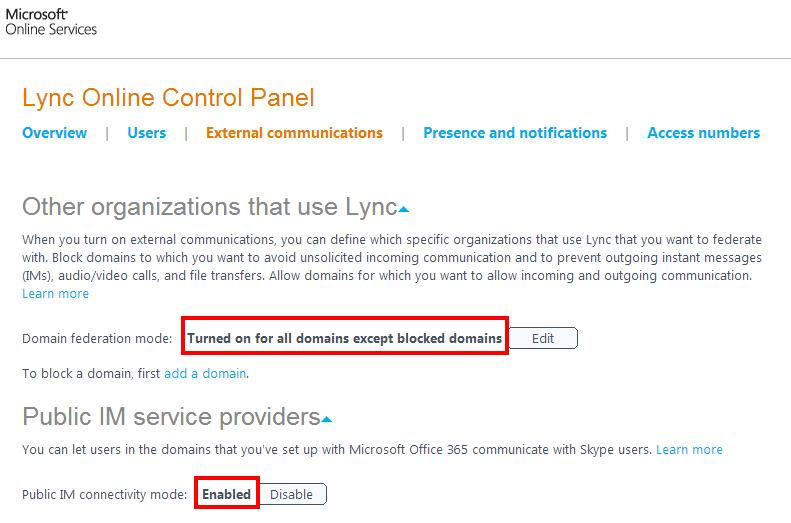 Lync - Office 365 - External communications