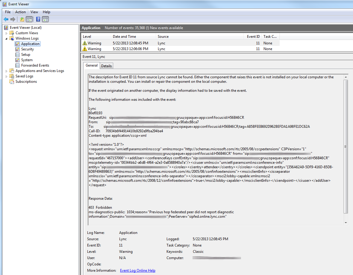Lync Office 365 Federation Error