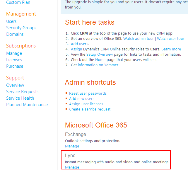 Manage Lync - Office 365