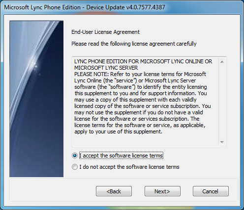 Microsoft Lync Phone Edition Wizard - Accept EULA
