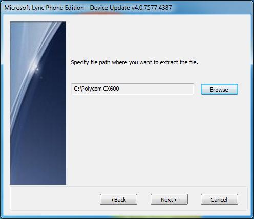 Microsoft Lync Phone Edition Wizard - Extract To