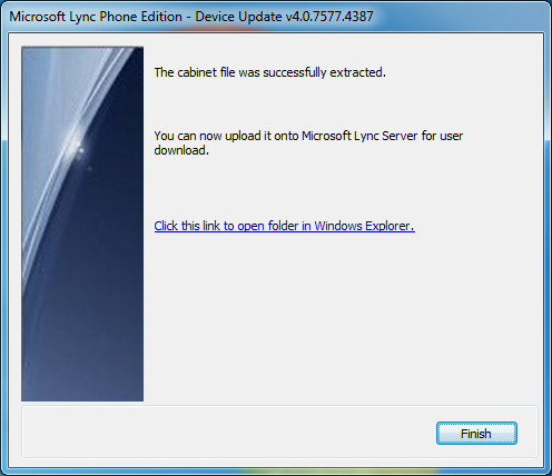 Microsoft Lync Phone Edition Wizard - Open Extracted Contents