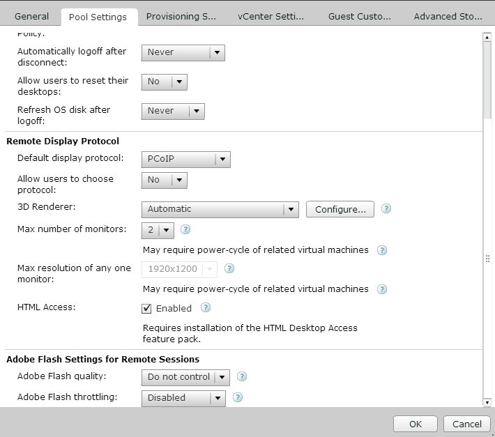 VMware Horizon View - VM Pool - HTML Access