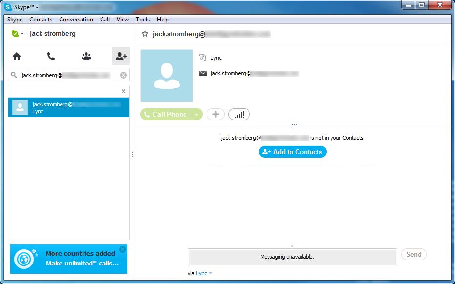 Adding Lync Contact - Skype