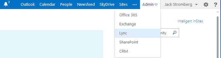 Lync Menu Office365
