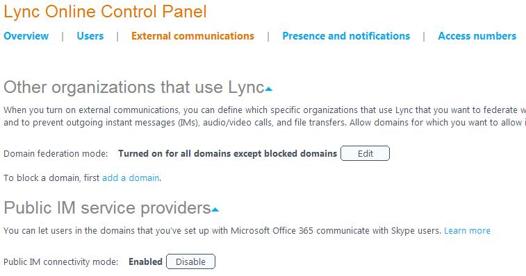 Lync Online Control Panel