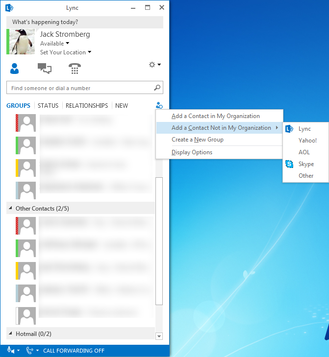 Lync client with Skype