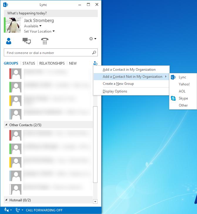 Lync client with Skype