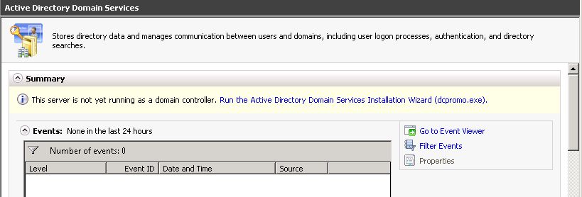Run the active directory domain services installation wizard