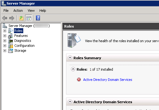 Server Manager - Active Directory Domain Services