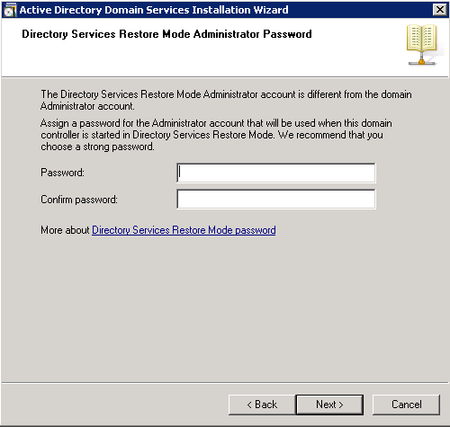 dcpromo - Directory Services Restore Mode Administrator Password