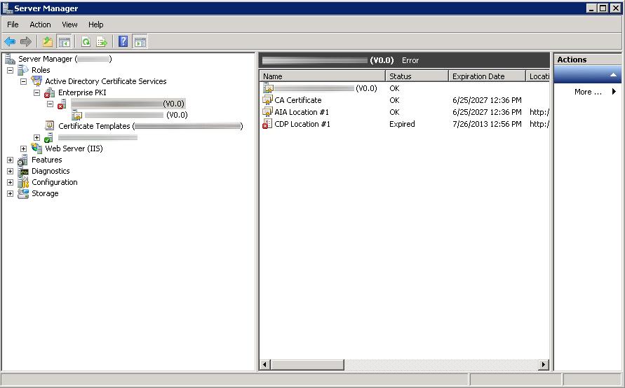 Active Directory Certificate Services Error