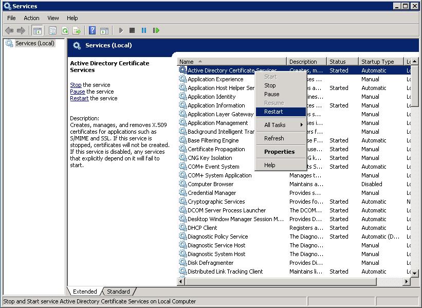 Active Directory Certificate Services Restart