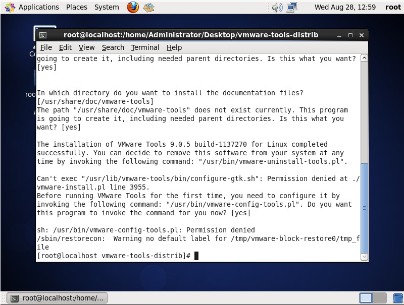 CentOS VMware Tools Permission Error