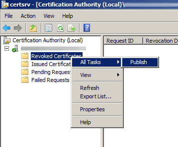 Certification Authority - Publish CRL