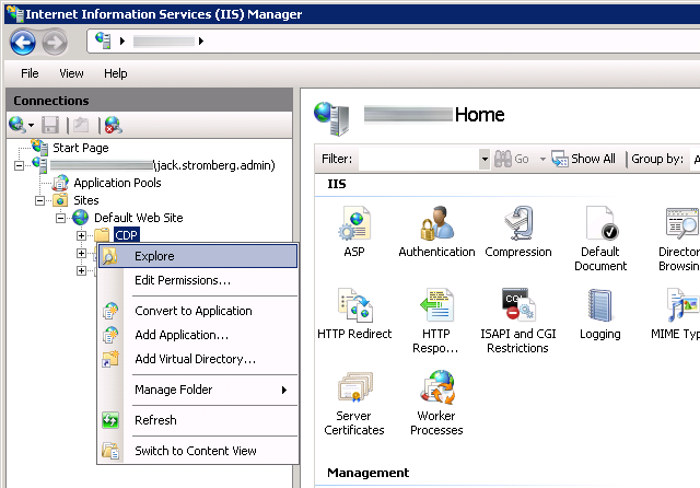 IIS Manager - Explore