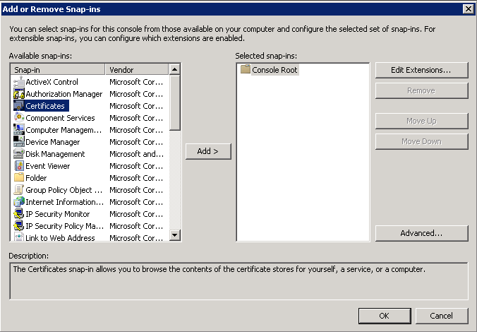 mmc - add-remove-snap-in-certificates