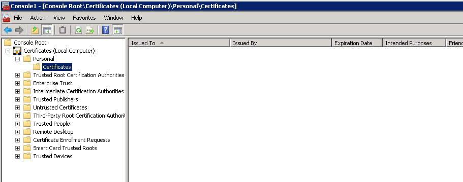 mmc - personal certificates