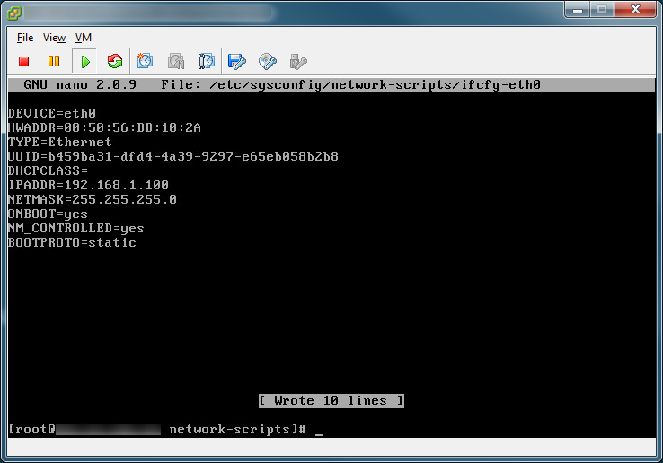 static IP CentOS