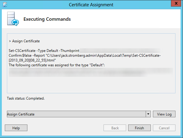 Certificate Assignment - Executing Commands