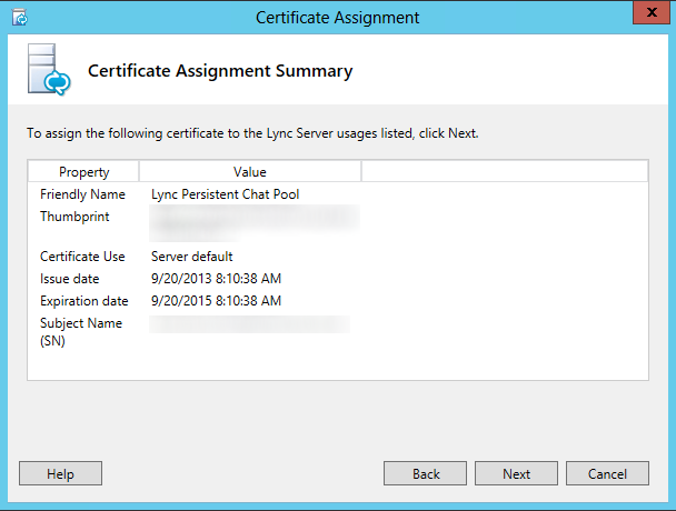 Certificate Assignment - Summary