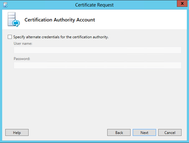 Certificate Request - Certification Authority Account