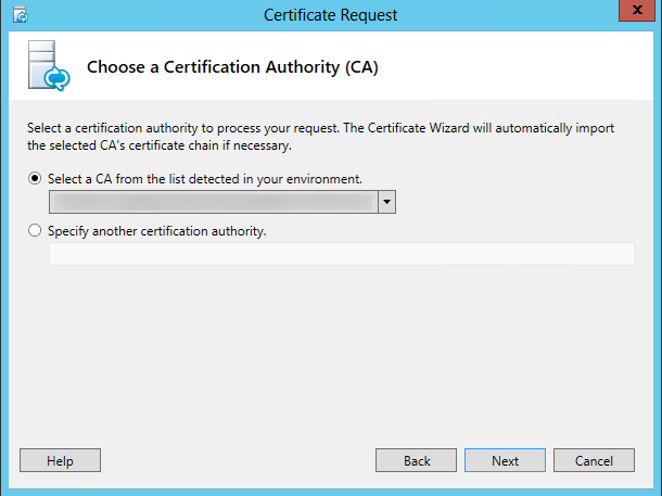 Certificate Request - Choose a certification authority