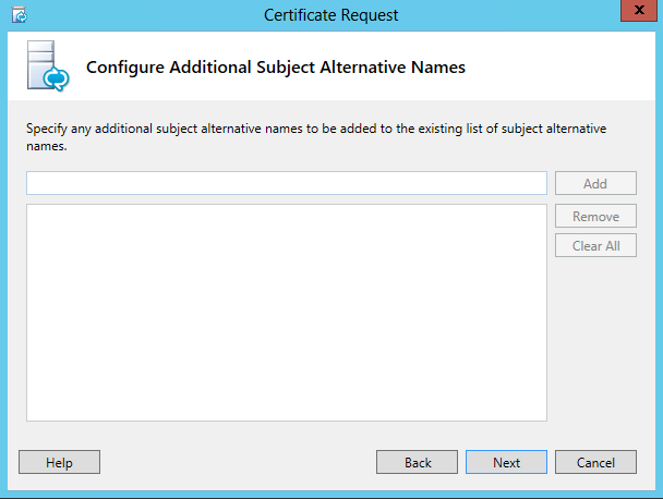 Certificate Request - Configure Additional Subject Alternative Names