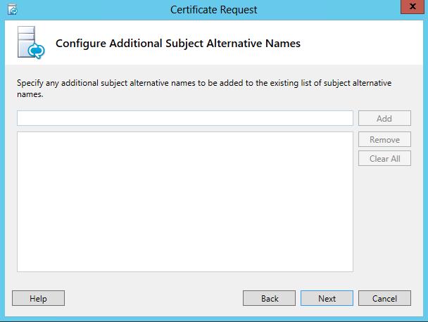 Certificate Request - Configure Additional Subject Alternative Names