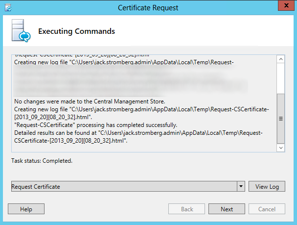 Certificate Request - Executing Commands