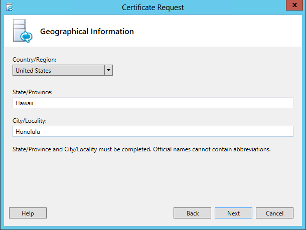 Certificate Request - Geographical Information