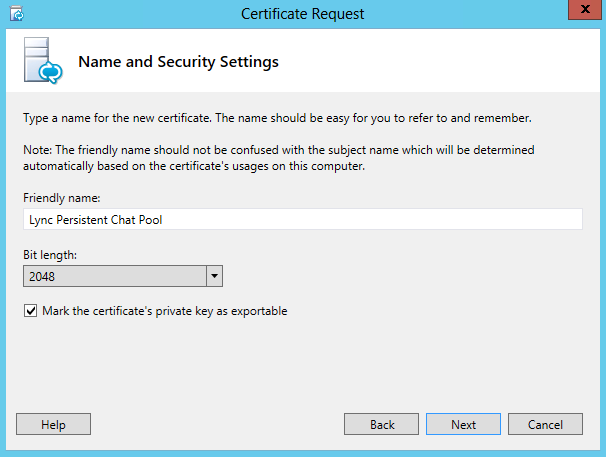 Certificate Request - Name and Security Settings