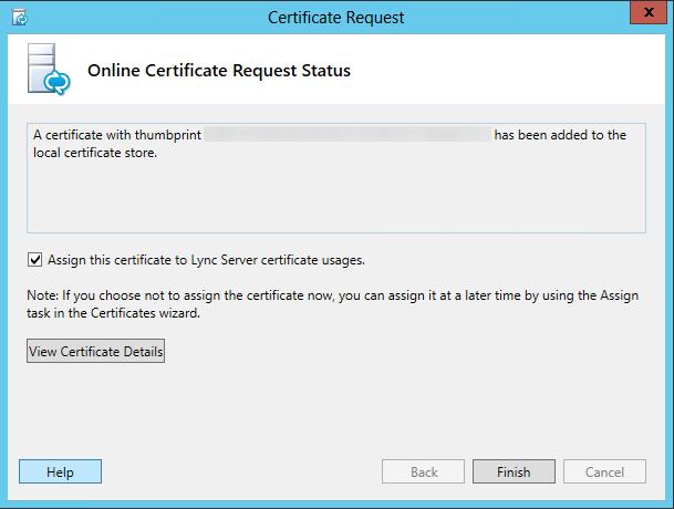 Certificate Request - Online Certificate Request Status