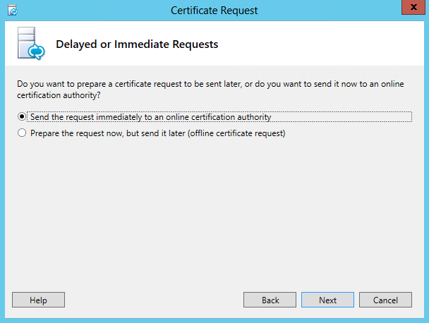 Certificate Request - Send the request immediately to an online certification authority
