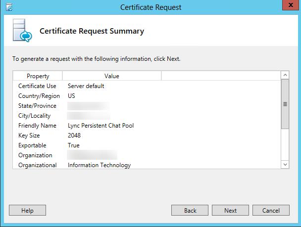 Certificate Request - Summary
