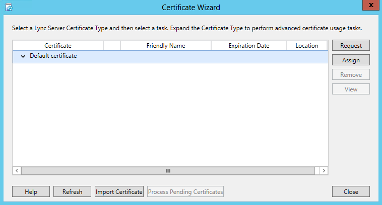 Certificate Wizard - Request