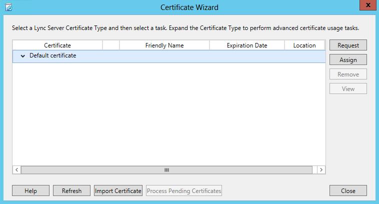 Certificate Wizard - Request