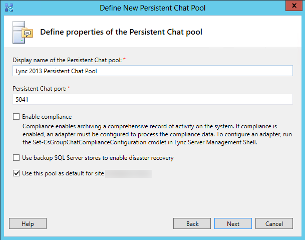 Define properties of the persistent chat pool
